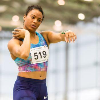 Caroline Agnou beim Kugelstossen am Hallenmeeting von Biel/Bienne Athletics 2018 in Magglingen (Photo: athletix.ch)