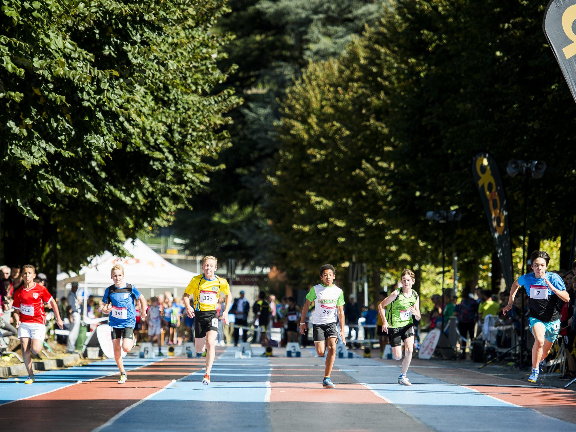 Weber Robbie, Buetzberger Gian, Fournier Justin, Trachsel Leon, Aschwanden Lukas, Ohara Motta Miguel beim Swiss Athletics Sprintfinal 2017 in Ciasso am 17. September 2017