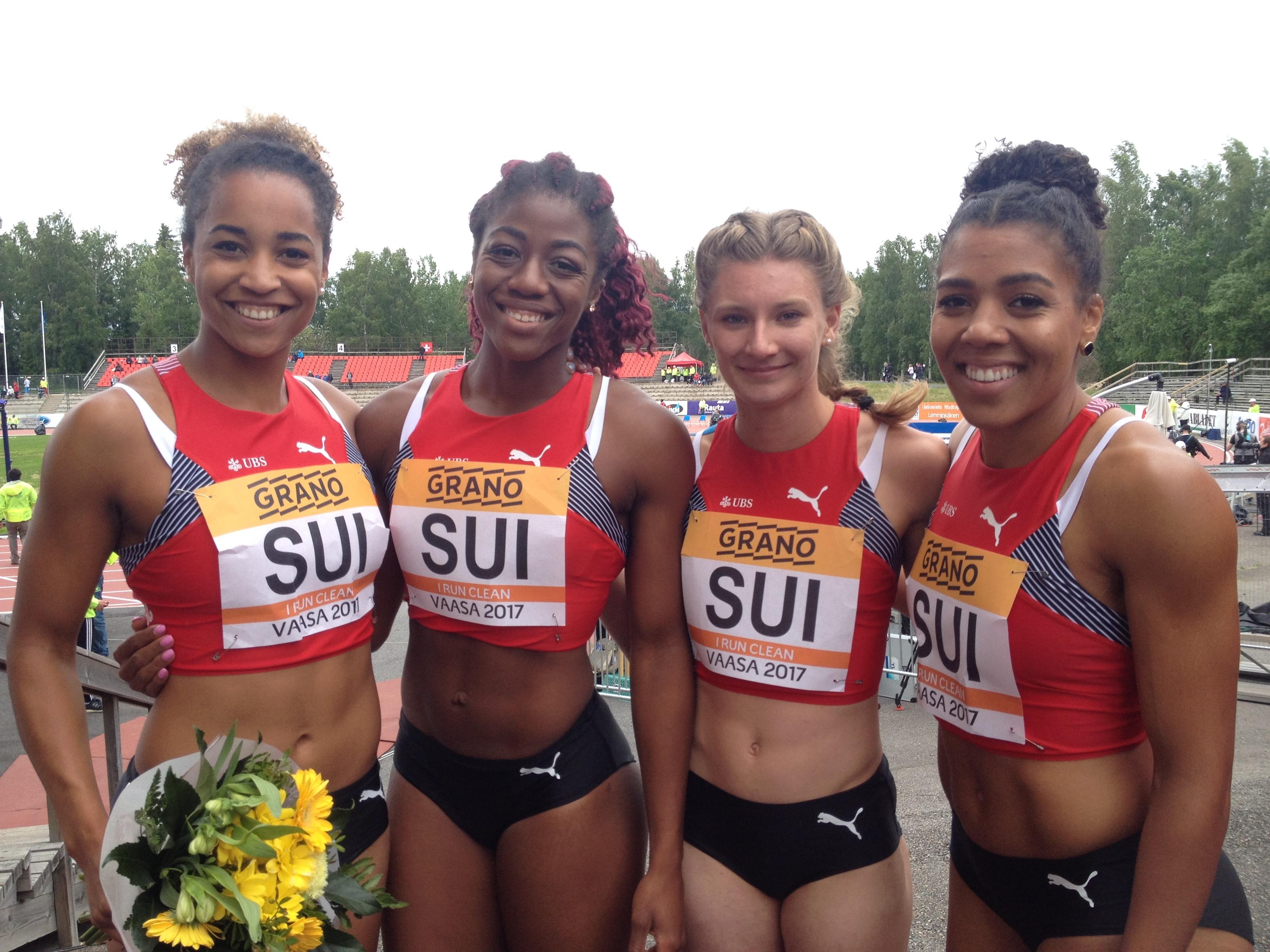 Salomé Kora, Samantha Dagry, Ajla Del Ponte, Mujinga Kambundji (Photo: Swiss Athletics)