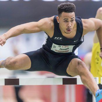 Jason Joseph bei seinem Einsatz an den Hallen-Schweizer-Meisterschaften in Magglingen 2018, wo er über 60 m Hürden siegt