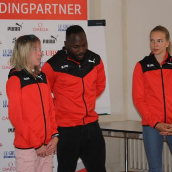 Medienkonferenz 2018 von Swiss Athletics in Zofingen mit Martina Strähl, Alex Wilson und Géraldine Ruckstuhl (Photo: Swiss Athletics)