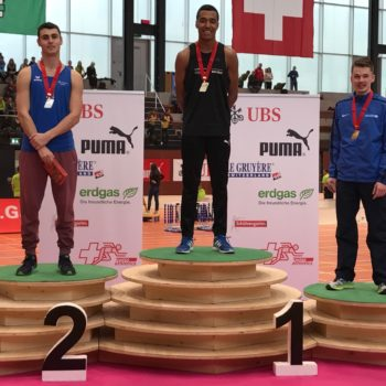 Siegerehrung 200 m Männer U20 mit Sieger William Reais (Photo: Swiss Athletics)