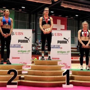 Siegerehrung 60 m U20 Frauen an der Nachwuchs-Hallen-SM 2018 in St. Gallen (Photo: Swiss Athletics)