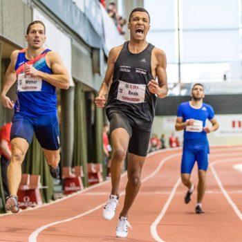 William Reais spurtet zum Hallen-SM-Titel über 200 m 2018, mit Schweizer U20-Rekord (21,39 Sekunden)
