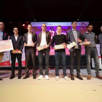 Team des Jahres mit Andreas Kempf, Marcel Berni, Christian Kreienbühl, Adrian Lehmann, Julien Lyon und Tadesse Abraham bei der Swiss Athletics Night 2016 in Luzern