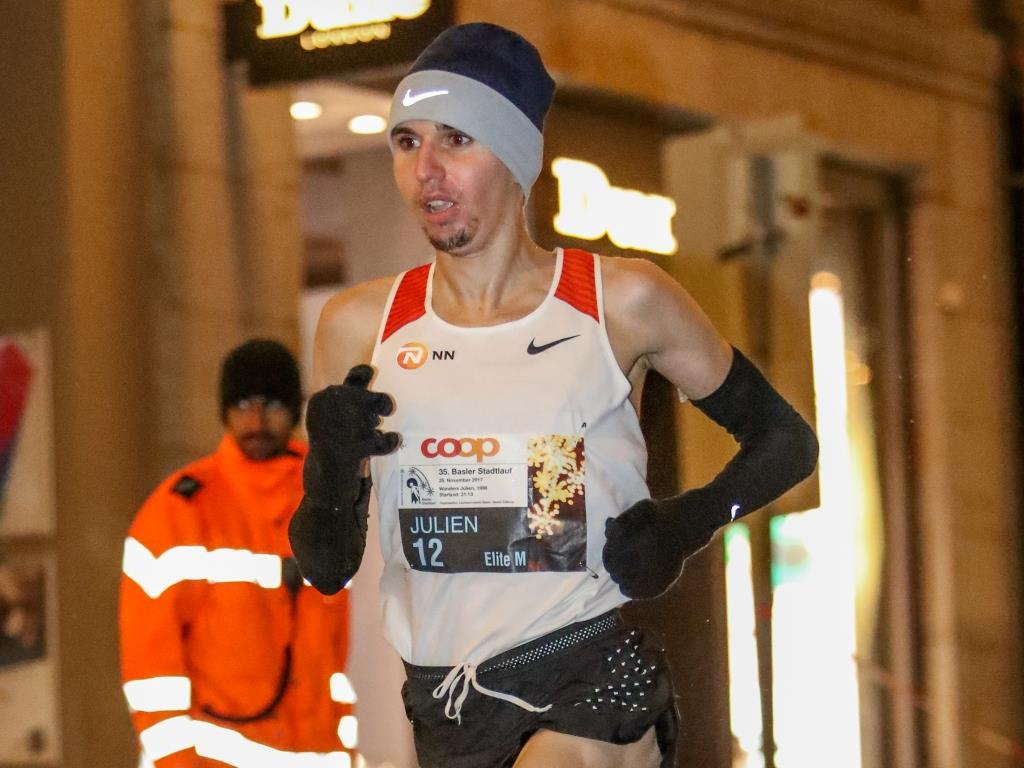 Julien Wanders im Elite-Rennen am Basler Stadtlauf 2017